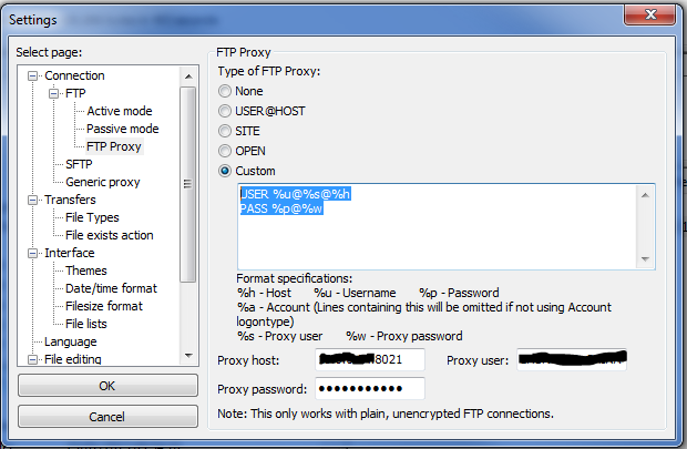 Filezilla Proxy Port